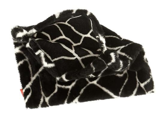Futrzana poduszka dekoracyjna ŻYRAFA czarny 40x50 cm