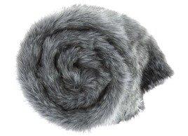 Decorative faux fur bedspread GRANDE PINI grey