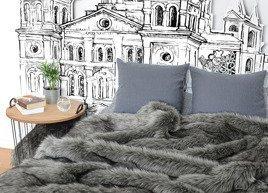 Decorative faux fur bedspread GRANDE PINI grey brown