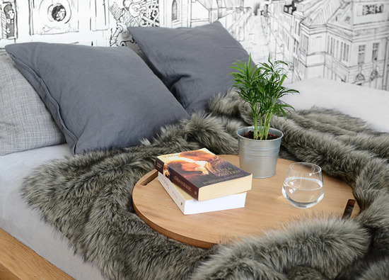 Decorative fur bedspread, blanket GRANDE PINI fuscous 155x200 cm