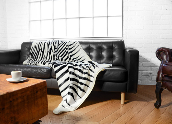 Decorative fur bedspread, blanket ZEBRA ecru, black 145x190 cm