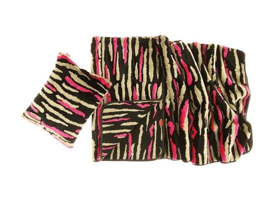Faux fur pillow NIGHT WAVES black beige pink 40x50 cm