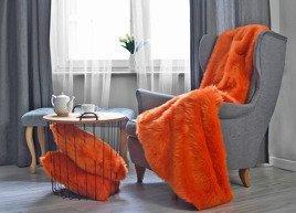 Komplet dekoracyjny futrzana narzuta MANDARA i dwie poduszki CZUPER